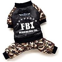 smalllee_lucky_store mascota FBI cuatro patas algodón acolchado abrigo