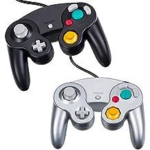 NewBull Joystick para juegos, 2 piezas de controladores para Gamecube (negro y plateado)