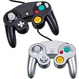 YFisk 2pc Mando a Distancia Control Remoto Gamepad Joystick Gaming para Nintendo Wii GameCube(negro+blanco)