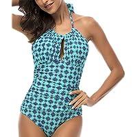 DUSISHIDAN BadeMode Retro Bandagen Badeanzug Damen, Einteiliger sexy  Monokini Schwarze Falten Design, Rundhalsausschnitt Brustpolster cc55a1ed8a