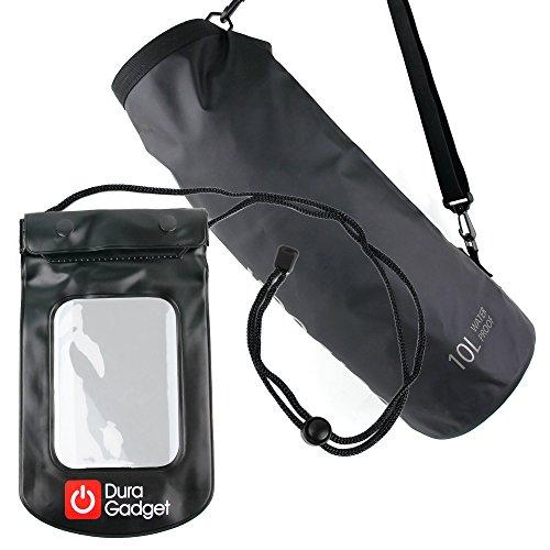 DURAGADGET - 10L wasserfeste Outdoor Tasche | See Sack | Trockentasche + Wasserdichte Tasche mit Halsband in Schwarz - Snowboard Mp3
