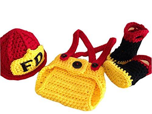 JT-Amigo Baby Kostüm für Neugeborenen Fotoshooting, Feuerwehrmann Kostüm, 0-1 (Kostüme Feuerwehrmann Baby)