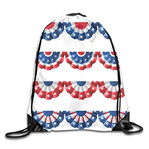 Drawstring Backpacks Bags Daypacks,Flag Round Bunting Election Ornament Politic Union Ribbon Event Pattern,5 Liter Capacity Adjustable for Sport Gym Traveling -