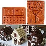Wildlead 2 Teile / satz 3D Weihnachten Lebkuchenhaus Silikonform Schokolade Kuchenform DIY Kekse Backenwerkzeuge
