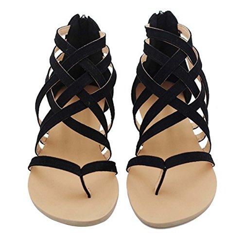 Faraly Femmes Roman Chaussures Femmes Chaussures Plates Bout Pointu Chaussures Chaussures De Sécurité Pour Ceinture Suede Cuir Casual Daim Sandales Noir