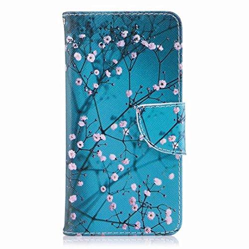 Yiizy Etui Coque Nokia 2 Etui, Fleur de Prunier Bleu Design Pochette Coque Housse Cuir Flip Cover Silicone TPU Rabat Case Coquille Portefeuille Média Stand de Fente pour Carte Bumper Protecteur Poche