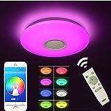 Deckenlampe mit integriertem Bluetooth Lautsprecher und RGB Farbwechsel, 24 Watt, Dimmbar, steuerbar über Fernbedienung, ideal für Wohnzimmer, Schlafzimmer oder Party
