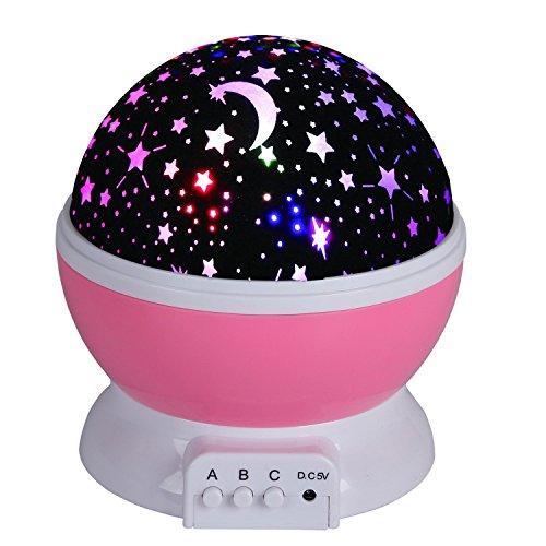 Projektor Lampe Star Schlafzimmer Licht Nachtlicht Sternenhimmelprojektor Beleuchtung mit 4 LED drehbar romantisch entspannende Stimmung für Baby von Discoball® no plug (Kein Stecker)(Rosa) Decke Sterne Nachtlicht