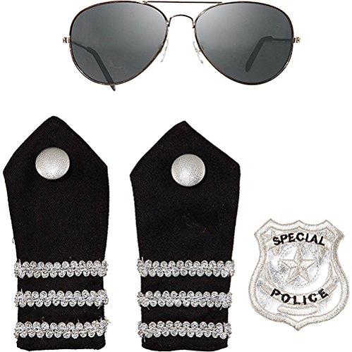 Set Kostüm Kind Polizist - Polizei Polizist Police Set 4 teilig Brille Schulterklappen und Patch