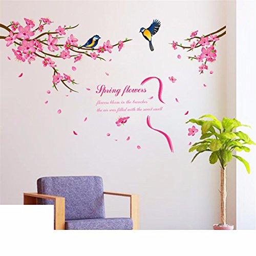 KTPMXX 3D Wall Sticker Wall Flower Schlafzimmer Zimmer Dekorationen Aufkleber Wand Malen Kreative Warmen Pfirsich Tapete Selbstklebende, Frühling Blumen (Halle Frühling)