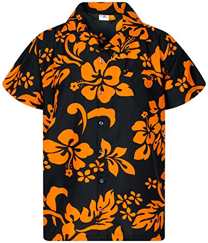 Klassische Duke Kostüm - King Kameha Funky Hawaiihemd, Kurzarm, Hibiskus New, Orange auf Schwarz, 3XL