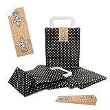5 kleine schwarz weiß Papiertaschen Henkel GEPUNKTET Papiertüte Verpackung Geschenktüte 18 x 8 x 22 cm + 5 Aufkleber CHRISTKIND ENGEL beige weihnachtlich Geschenkpapier verpacken