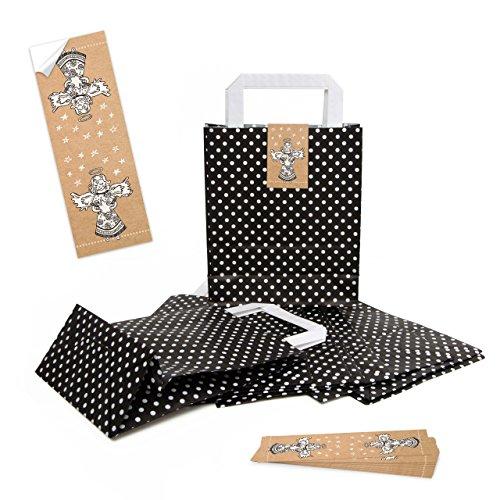 5 piccoli sacchetti di carta con manico, 18 x 8 x 22 cm + 5 adesivi con scritta in lingua tedesca