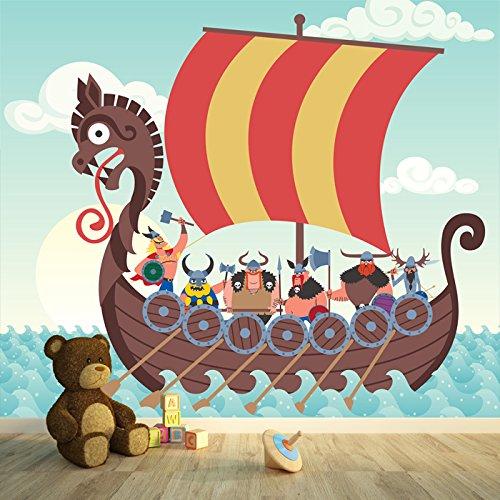 azutura Wikingerschiff Fototapete Pirat Tapete Jungen Schlafzimmer Haus Dekor Erhältlich in 8 Größen Riesig Digital
