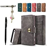 Sony Xperia X Compact Hülle,Sony Xperia X Compact Schutzhülle Leder Hülle, Alfort Retro Ledertasche PU Leder Tasche für Sony Xperia X Compact Smartphone (Dunkelgrau) + Stylus Pen + Staub Stecker