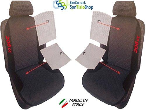 Par de schienali para coche. Fundas para asientos universales personalizadas para Peugeot 206con bordado de hilo color 206CC rojo