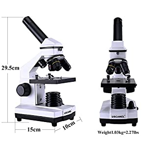 USCAMEL Microscope for Students, 40-400X All-Optic Glass High-Power for Kids and Children Scientific Research, Biological Slices Included