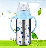 XW Doppellagige, Isolierte Babyflasche Dual - Einsatz Breitkalibriger Edelstahl Flasche Baby Stroh Silikon Nippel,Blau,300ml