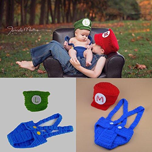 UGUAX Neugeborene Baby Fotografie Prop Crochet Spiele Mario Hat Overalls Boy Girl Foto Shoot Kleidung ()