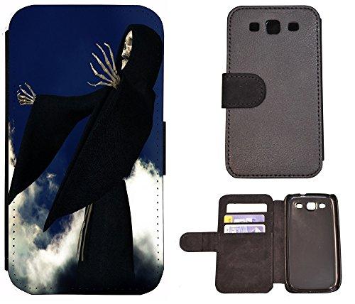 Flip Cover Schutz Hülle Handy Tasche Etui Case für (Apple iPhone 4 / 4s, 1328 Katzenbabys Kätzchen Katzen Tier süß) 1322 Sensenmann Skelett Skull Schwarz Blau