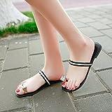 GTVERNH-Gem Toe Sandales Summer Ameublement Plat Chaussures Cuir Pantoufles Chiant Quarante Black