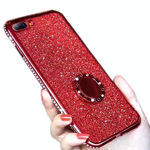 WQXD iPhone 8 Hülle,iPhone 7 Schutzhülle Glitzer Handyhülle Kristall Bling Strass Ultradünn TPU Silikon Hülle Case Tasche Transparent Handytasche mit Ring Ständer Halter,red,iPhone6