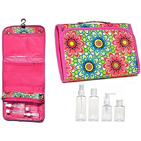 NUEVO Grande Negro y rosa colgar Neceseres de viaje de maquillaje Neceser Organizador de funda con Pack de 4tamaño de viaje botella cesta de Pascua Idea de regalo Stuffer Teen Girls Mujeres Mom
