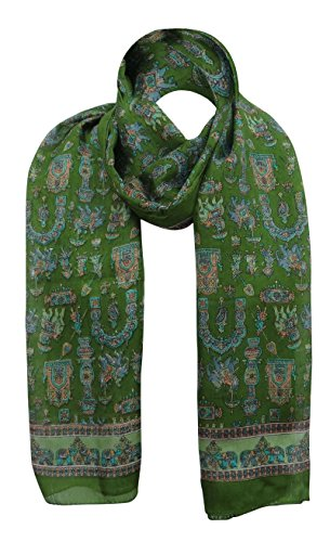 """Procession Echarpe Pure Fashion Soi Souple Wrap Hijab 70 """"X 20"""" Pouces Olive Vert et Orange"""
