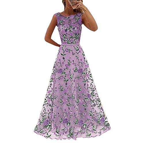 Damen Ärmellos O Neck Kleid Abendkleid Freizeit Elegant Prom Cocktail Maxikleid