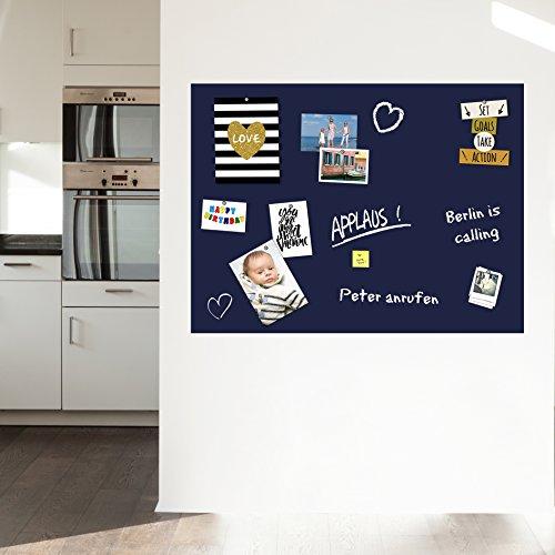 selbstklebende und magnetische Tafelfolie Wandfolie Wandtafel Kreidetafel - in blau 100x75 - Ideal für magnetische Pins