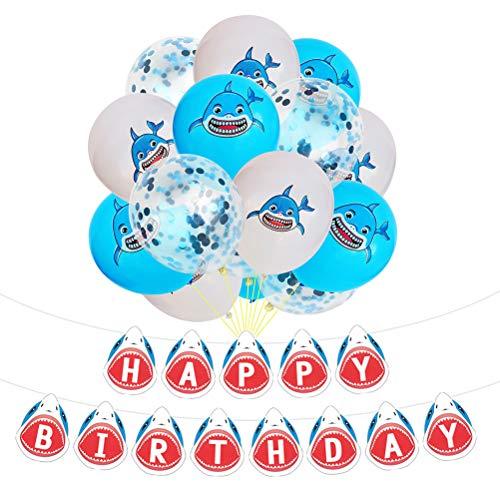 Toyvian Hai-Themed Party Luftballons Kit mit Happy Birthday Shark Banner Set für Pool-Party, Ocean Party, Geburtstagsparty Dekorationen 16 Stück