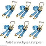 6 x 20 meter 50mm Blue Ratchets Tie Down Straps 5 tons Lorry Lashing