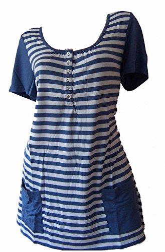Blaues T-shirt Tasche (Versandhausware Casual by Sheego T-Shirt Longshirt Blau Grau Gestreift 307633 (44/46))
