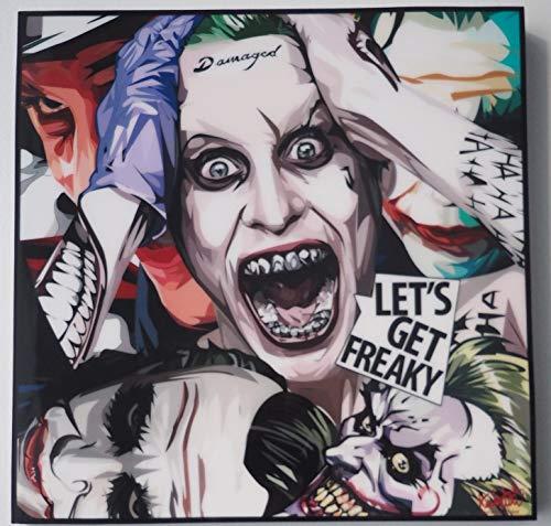 GLAGOODS Joker Batman Suicide Squad Pop-Art Leinwand Heath Ledger Jared Leto, gerahmt, Vinyl