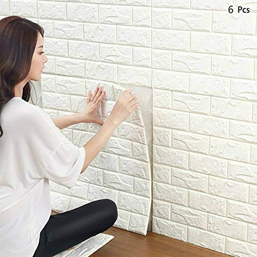 3D Brique Fond d'écran 24 cm * 24 cm autocollant autocollant mural imperméable PE mousse décoration murale pour chambre à coucher salon (6PCS)