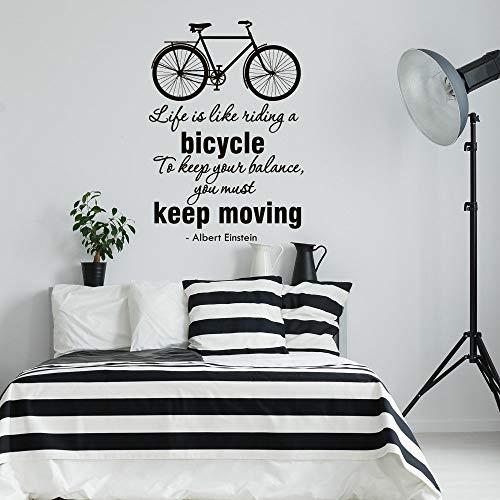 Dozili Wandaufkleber mit Zitaten von Einstein Life is Like Riding A Fahrrad, Vinyl, 45,7 x 66 cm