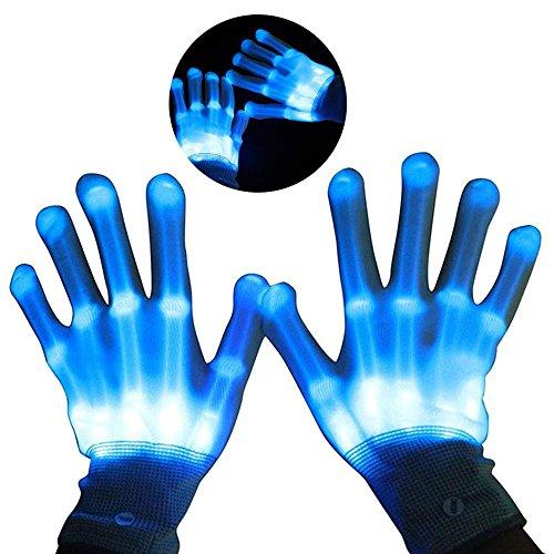 Teepao LED Leuchtende Skelett-Handschuhe, Handschuhe Glow mit Multi Modi, Bunten Finger Beleuchtung für Vereine/Raves/Festivals/Halloween/Bonfire Night/Party/Spiele (Weiß) ()