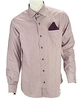 Camicia Uomo Righe Bordeaux su Bianco + Fazzoletto Pochette Bordeaux- Philo Vance - Baltico
