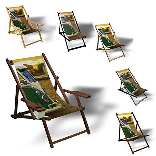 Printalio VW Bus - Liegestuhl Bedruckt Balkon Garten Sonnenliege Relax Holz Terrasse | mit Armlehne,...