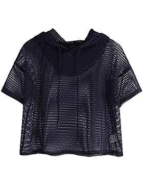 [Patrocinado]SOLYHUX Mujer Camiseta De Malla Tops Corto Verano,Camiseta De Capucha con Manga Corta, Blanco XS-L