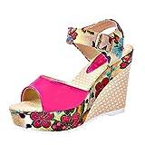 MOIKA Damen Sandale, Damen Keile Schuhe Absätze Knöchel Gurt Fallen Sommer Sandalen Party Strandschuhe(EU34,Hot Rosa