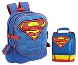Superman moldeado pecho 3d mochila bolso de escuela Mochila y para el almuerzo fiambrera almuerzo Tote Combo