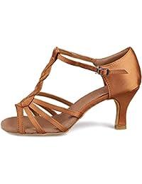 HROYL femenino ES7-F59 el Rosa sat¨ªn latino la danza el zapato 36.5