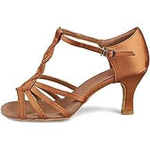 HROYL Zapatos de baile/Zapatos latinos de satín mujeres ES7-F30