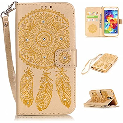 S5 Custodia, Galaxy S5 Case, S5 i9500 Portafoglio in pelle, M. JVisun strass Dream Catcher in pelle + morbida in silicone con tracolla tasca per carte e supporto Custodia per Samsung Galaxy S5 SV i9600, Gold, For Samsung Galaxy S5 SV i9600