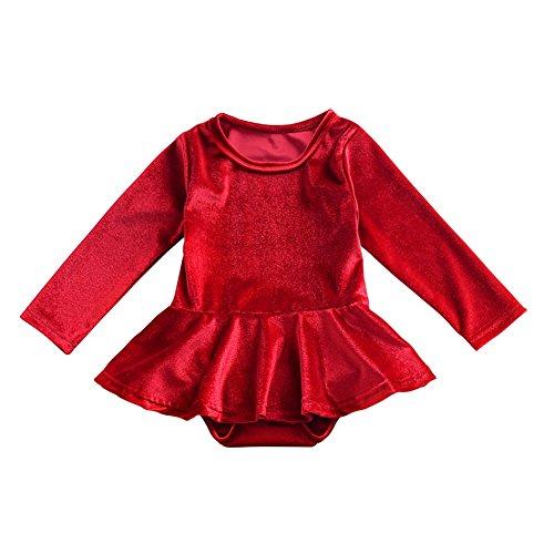 Brightup Neugeborenes Baby Mädchen Langarm samt Overall Spielanzug Kleid, Spring Body One-Piece Kletter Kleidung (Mädchen One Piece Kleid)