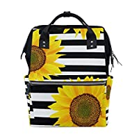 ALINLO Sunflower with Black White Stripes Diaper Bags Mummy Tote Bags Large Capacity Multi-Function Backpack for Travel