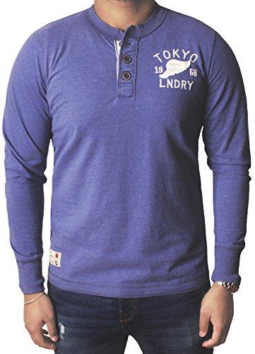 Uomo Tokyo Laundry Manica lunga Superiore Maglietta Moda Girocollo Casuale Top ARTURO Blu cornflower marna