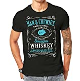 12 Parsec Smugglers Whiskey T-shirt Star Wars Han Solo Chewbacca Character Mashup T Shirt Black ScreenPrinted Design All Sizes