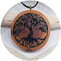 SOULSLICES Albero della vita 5 Catena di legno - La natura - Ciondolo in legno - Vegan - Sostenibile - Decorazione di rami - Incisione - Yoga - Significato - Regalo - Gioielli naturali - Le signore - Donne